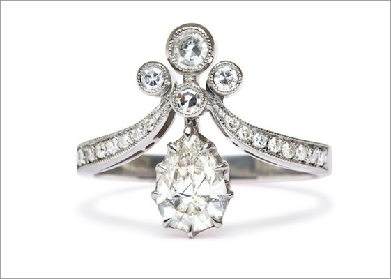 tiara ii ring in platinum featuring a 071ct pear shape diamond with - Vintage Style Wedding Rings