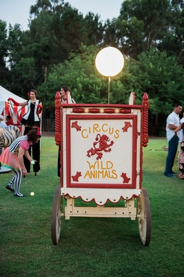 Circus animal wild animal old fashioned cage wedding decor at Malibu outdoor wedding reception