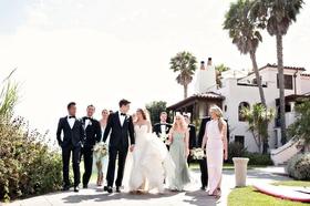 the bridal party in pastels at Bacara Resort in Santa barbara