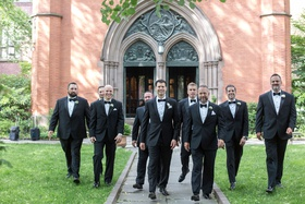 groom and groomsmen in tuxedos bow ties tuxes church of the good shepherd new york high line hotel