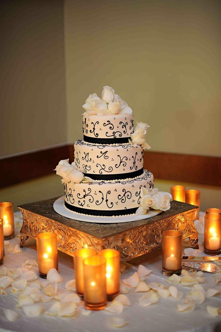 Porto's Bakery three layer cake with roses
