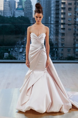 """Wythe"" Ines Di Santo fall 2018 blush trumpet mermaid wedding dress draped blush sweetheart neckline"