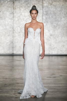 Inbal Dror Fall 2018 VIP sparkling strapless sequin mermaid with chiffon accents at waist