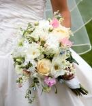 Fresh flowers wrapped in delicate handkerchief