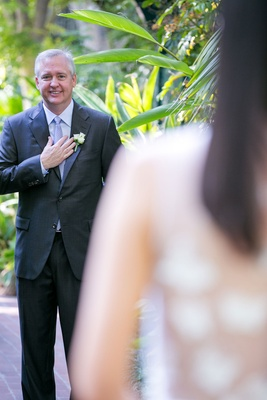 Wedding ideas vow renewal first look groom seeing bride for first time married