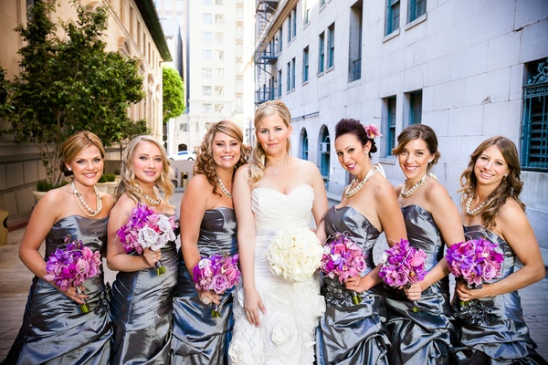 Bride with bridesmaids in Downtown Los Angeles