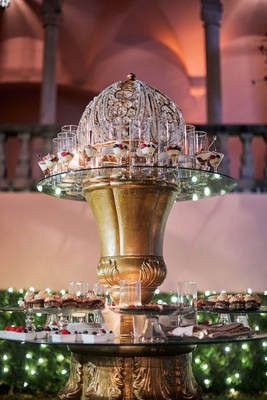 wedding dessert table on ornate gold and crystal table