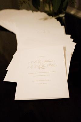 Wedding program on ivory stationery with gold ink