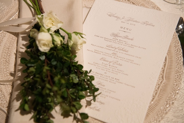 Wedding reception greenery and white rose sprigs on charger plate ornate with menu card calligraphy