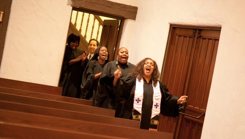 Four members of church choir sing