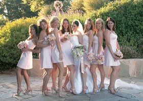 Blush bridesmaids with pink bouquets