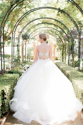 lazaro ball gown with cutout back from crystal bodice