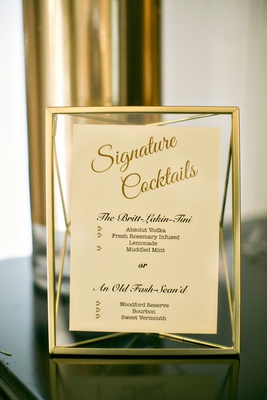 Wedding reception gold frame menu for cocktails reception personalized cocktail names