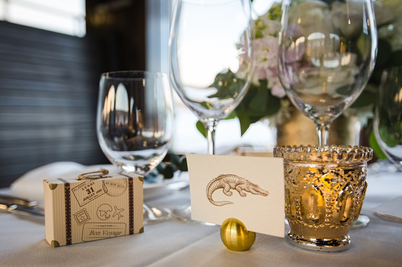 travel themed wedding with vintage animal illustration post cards to mark tables