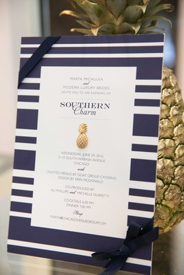 blue and white wedding décor, southern-inspired wedding pineapple wedding sign