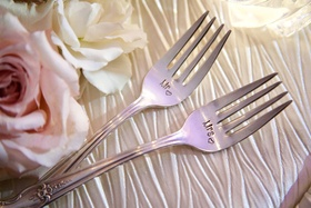 Wedding reception engagement gift idea Mr and Mrs fork engraved present ideas