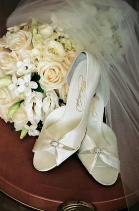 White satin wedding shoes with rhinestones