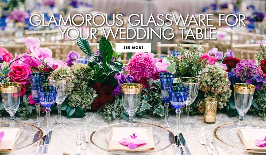 Glamorous glassware for your wedding reception table colored goblets and wine glasses