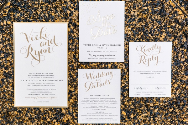 Wedding Invites With Gold Calligraphy And Lettering ...