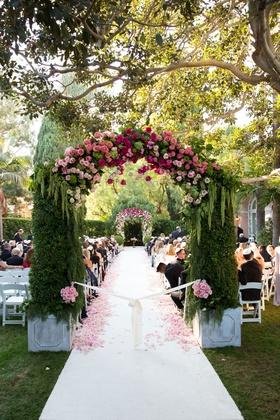 Wedding ceremony outdoor wedding beverly hills hotel white aisle runner flower petals arch