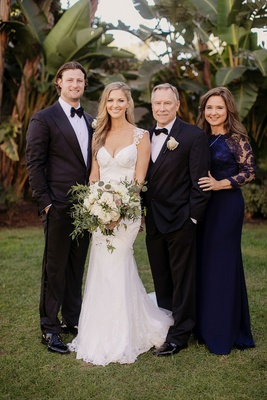 Gerrit Cole and Amy Crawford with bride's parents mother of bride and father of bride navy dress