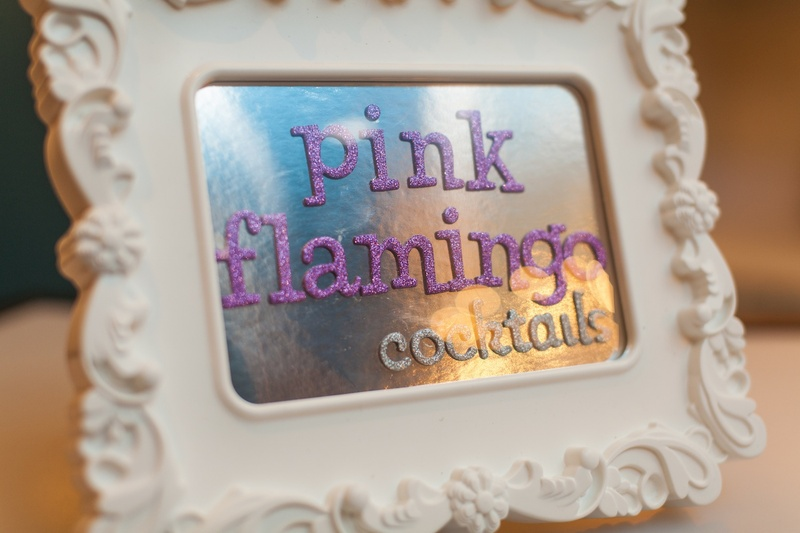 White Baroque frame with purple glitter drink sign