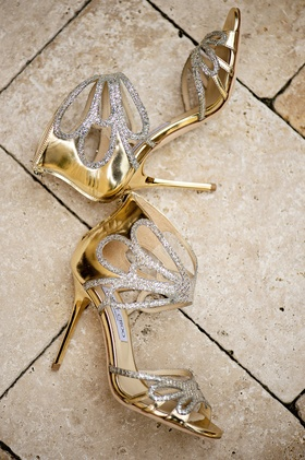 Jimmy Choo wedding shoes with gold heel