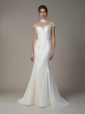 Liancarlo Fall 2018 bridal collection tulle mermaid gown with high neck and cap sleeves