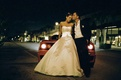 Strapless ball gown and unbuttoned tuxedo