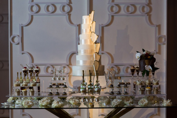 spotlighted cake on center of dessert table