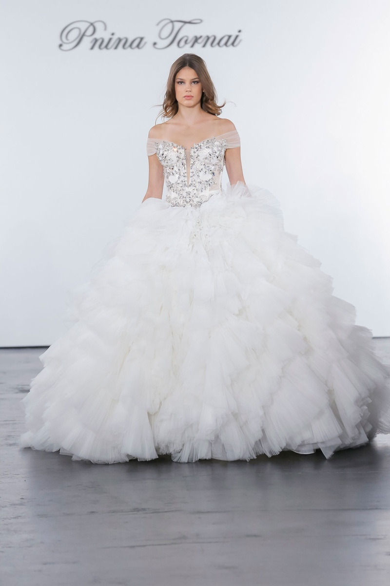 Pnina Tornai for Kleinfeld 2018 wedding dress ball gown ruffle skirt crystal bodice off shoulder