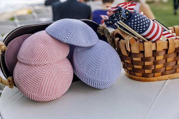 fourth of july weekend wedding, red and white yarmulkes, blue and white yarmulkes, american flags