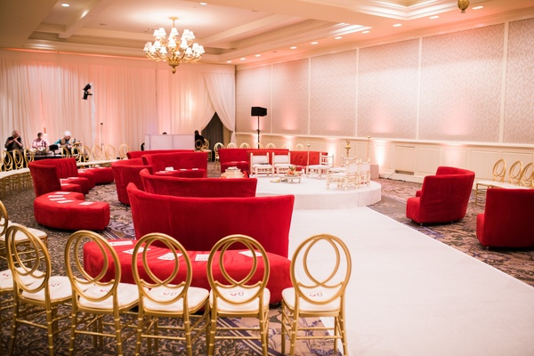 hindu wedding ceremony seating in the round with lounge furniture