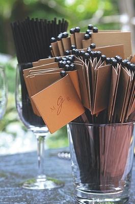 Personalized swizzle stick with wedding monogram