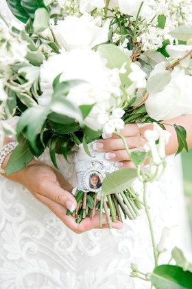 wedding bouquet with lace wrap charm for late loved ones french manicure white flowers bouquets