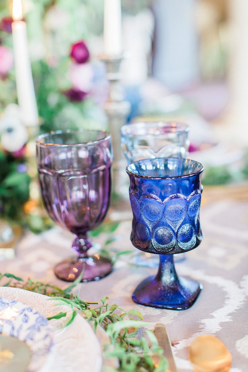 Reception Dcor Photos Blue And Purple Glassware Inside Weddings