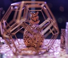 geometric pineapple tablescape decor fall wedding styled shoot shiny sparkly table linens