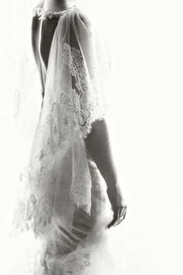 close up on details on Marchesa wedding dress