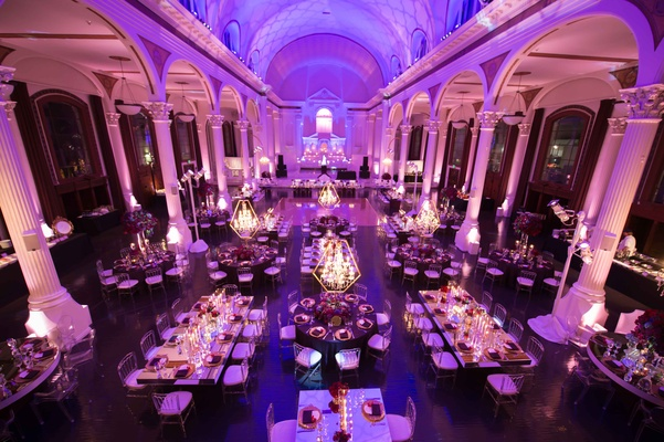 Greek Orthodox Church Ceremony Glamorous Purple Gold Reception