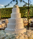 Five layer wedding cake at vineyard wedding