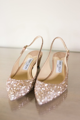 wedding shoes gold glitter pointed toe pump slingback heel with strap and low heel