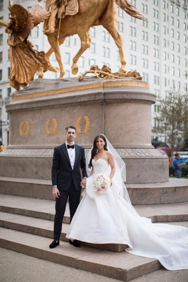 bride and groom wedding portrait new york city sherman memorial monument nyc