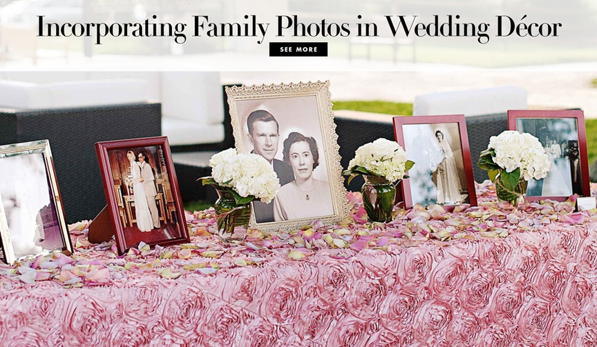 How to incorporate family photos in wedding ceremony and reception decorations