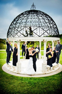Bridesmaids and groomsmen on Grand Del Mar gazebo