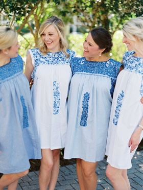 Bridesmaids in blue and white getting ready dresses Mexico handcrafted Mi Golondrina