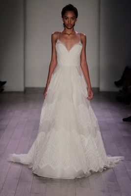 Jim Hjelm Spring 2016 Spaghetti Strap A Line Wedding Dress With Lace Stripes