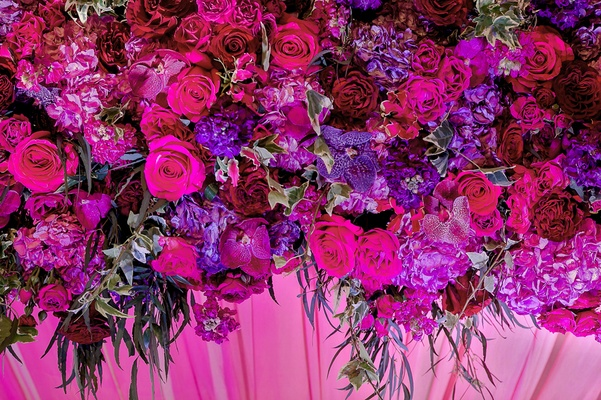 garden roses, stocks, fuchsias, hydrangeas in shades of purple for indian mandap altar