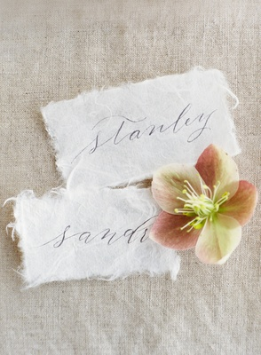 handmade paper escort cards, soft rustic bridal shower wedding escort cards