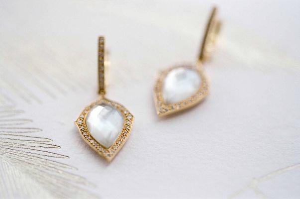 Bride day of wedding jewelry gold earrings with teardrop stone