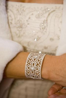 Bride in JudeFrances bridal cuff